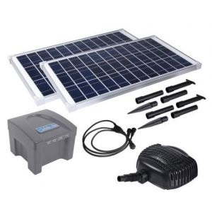 Solar Powered Pond Pump 3500L/hr + Backup Battery SPB70-801220D